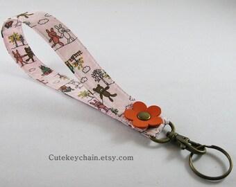 Long Fabric Keychain, Fabric Wristlet Key Fob, Fabric Key ring, Keychain Wristlet With Orange Leather Flower