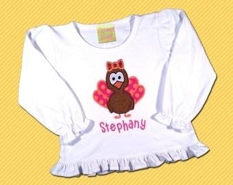 Girl's Thanksgiving Shirt with Polka Dot Turkey and Embroidered Name