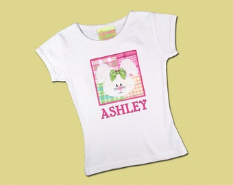 Girl's Easter Shirt - Bunny Box Shirt with Embroidered Name - M17