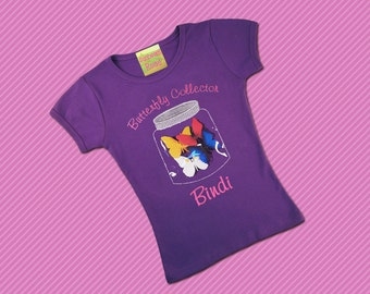 Girls Butterfly Jar Shirt with Embroidered Name