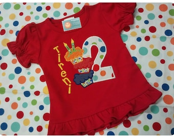 Girl's Birthday Shirt with Cupcakes, Number and Name
