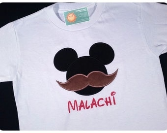 Boy's Mustache Shirt with Mouse-Stache Mouse Shirt and Embroidered Name