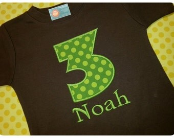 Boy's Birthday Shirt with Green Dot Number and Embroidered Name