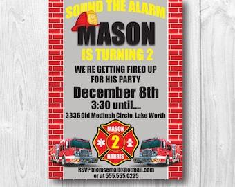 PRINTED Firetruck Birthday Invitation, firetruck, fireman,birthday, firetruck birthday
