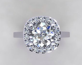 18kt White Gold HALO ENGAGEMENT RING  Genuine Diamonds 1.20ct Round Forever One Moissanite  Engagement Ring Wedding Pristine custom rings
