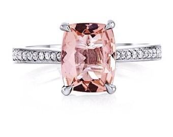 Morganite Ring 14kt White Gold 2.19tw Cushion Cut MORGANITE ENGAGEMENT RING Natural Diamonds Engagement Ring Wedding Ring Ann