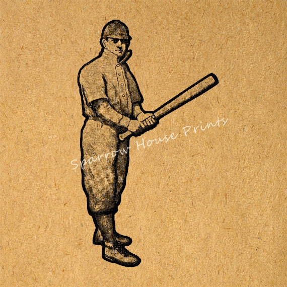 Vintage Baseball Wall Decor : Items similar to baseball player print vintage wall art