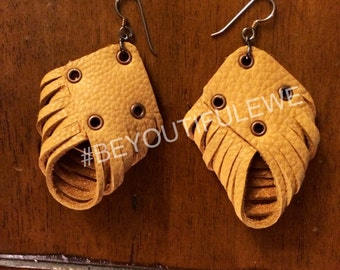 Mustard Yellow Shredded Leather Earrings