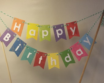 "Cake Bunting, ""Multi"" Happy Birthday, Cake Topper, Paper banner"