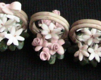 Vintage Capodimonte 5 Mini Porcelain Baskets Pink White Blue Flowers Made in Italy Very Collectible
