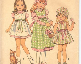 """Simplicity 6299 Child's """"Holly Hobbie"""" Dress and Jumper in Two Lengths and Cap  Id184"""