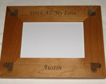 Personalized Wood Picture Frame - With All My Love