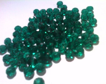 Beautiful Rondelle Faceted Crystal Beads -dark/Emerald  green -6mm-30 pieces-for jewelry making