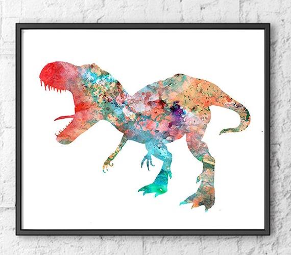 Dinosaur watercolor print watercolor painting watercolor kids for Children s mural artist