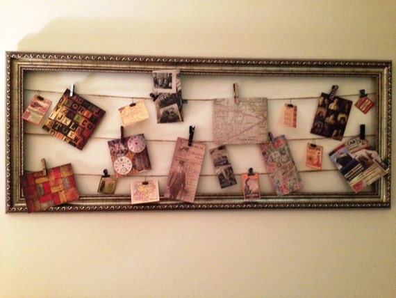 Vintage Wall Decor Ideas: Items Similar To Framed Twine & Clips Vintage Wall Art On Etsy