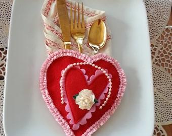 Set of 2 Felt Napkin Holder, Utensil Holder, Table Decor, Valentines Tableware, Romantic Table Decor, Red Felt Utensil Holder