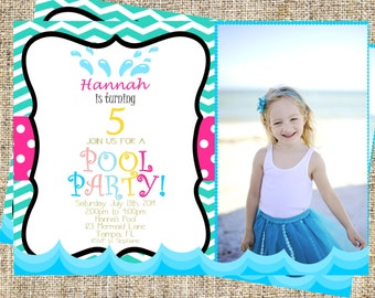 Pool Party Invitation, Pool Birthday Party, Splish Splash Invitation, Pool Party Invite + Free Matching Thank you Card!