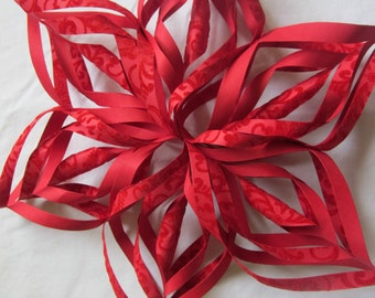 NEW!!! Red Paper Snowflakes with special winter ornaments