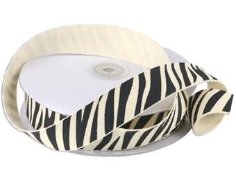 Zebra Print Cotton Twill Ribbon, 25-yard