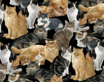 On Sale !!!!Cats All Over Fleece Fabric By The Yard