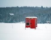 Red Ice Fishing Shack - Canadian landscape photo
