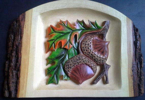 Carving wood relief fall oak leaves