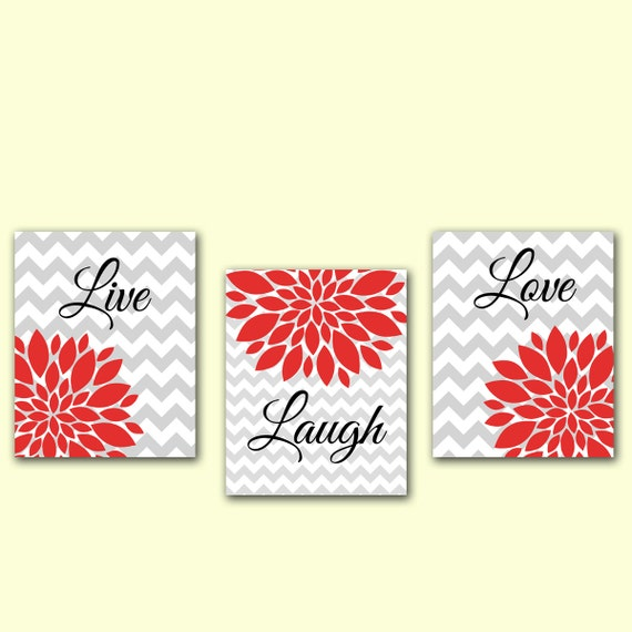 Wall Art Red Flower : Live laugh love wall art red flower burst by