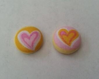 Heart Earrings- Heart Button Earrings- Button Earring- Heart Button Fabric Earrings- Fabric Covered Heart Button Earrings- Handmade Earrings