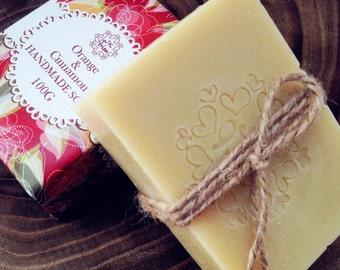 Natural Handmade soaps,  Cinnamon, Orange and Organic vegan handmade soap, Australia cold process handmade soap, best homemade soap