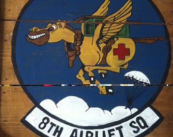 Airforce military patch on reproduced wooden wine pallet