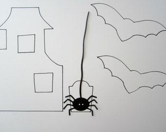 Halloween Decor - Set of 5 Black Spider Die Cuts