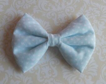 Sweet Lolita Light blue with polka dots hair bow clip or hair tie