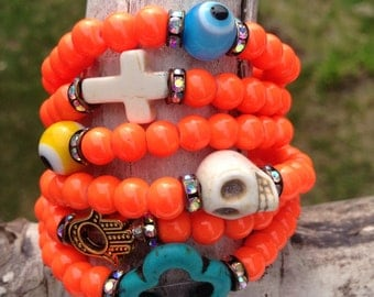 Orange Neon Devotional Beads