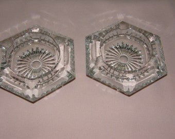 A Pair of Hexagon Shapped Cut Crystal Ashtrays