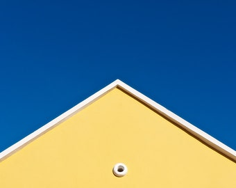 Yellow Roof and Blue Sky, Sunny House, Willemstad, Curacao, Caribbean, Fine Art Photograph for Your Home and Office Wall Decor