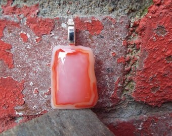 Orange Glass Pendant/ Fused Glass Pendant/ Glass Jewelry. Sunset Glass Jewlery