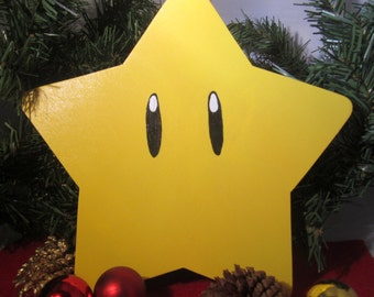 Mario Power Star Christmas Tree Topper -- wood painted yellow and black; 8 inch star