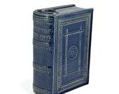Pottery Book Flask Robert Burns Coming Thro the Rye 19th Century Cobalt Blue
