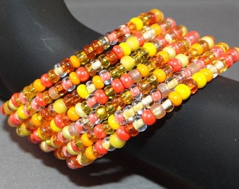 Beaded Bangle - Memory Wire - Seed Beads - Summer Colors - yellows and oranges
