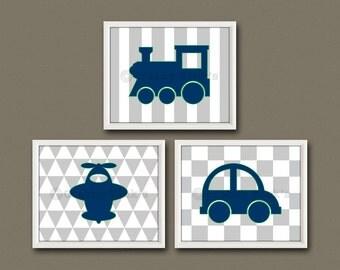 8x10 (3) NURSERY TRANSPORTATION PRINTS - Nursery Art, Nursery Decor, Children's Art - Planes, Trains, and Automobiles