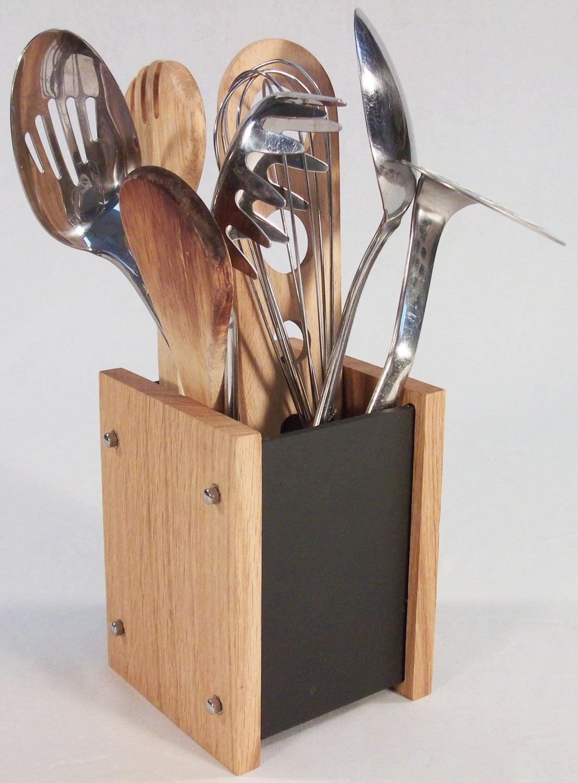 Oak slate design kitchen utensil holder modern contemporary - Unique kitchen utensil holder ...