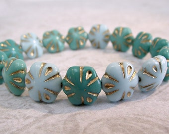 11mm Flower Beads Green Turquoise Baby Blue Czech Glass CZ-238,sky blue flower bead,turquoise mix glass,czech flower beads,blue flower bead