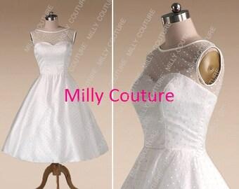 Polka Dot 1950's style wedding dress, Audrey Hepburn short wedding dress, tea length 50s wedding dress, vintage wedding dress, Bella