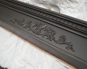 Black distressed mantel shelf 48 inch