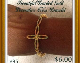 Decorative Cross Gold Bracelet