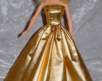 Handmade Barbie Clothes - Metallic Gold Gown