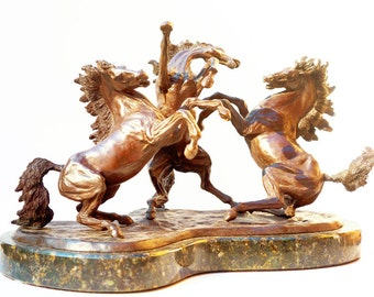 Three Horses Bronze Sculpture