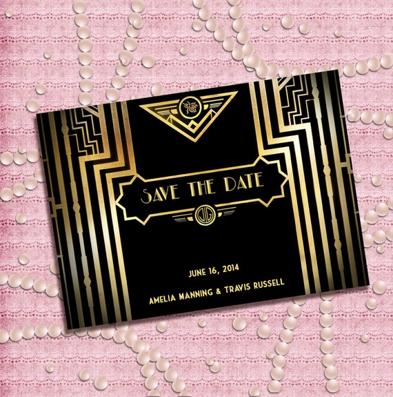 great gatsby style art deco save the date card 1920 39 s. Black Bedroom Furniture Sets. Home Design Ideas