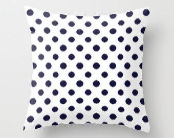 Velveteen Pillow -  Black Ikat Polka Dots - Dorm Pillow - Teen Pillow - Girls Pillow - Teen Room Decor - Girls Bedroom Ideas - Girls Bedroom