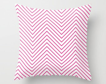 Fuchsia Pillow - Velveteen Pillow - Fuchsia Throw Pillow - Fuchsia Chevron Pillow - Girls Pillow - Teen Pillow - Dorm Pillow - Pink Pillow